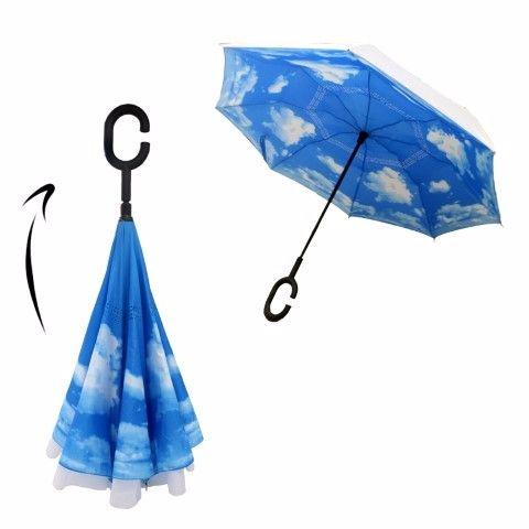 מטריה מתהפכת ממותגת עם לוגו חברה